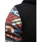 Tribal Print Drawstring Zip Up Hoodie for sale