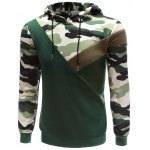 cheap Hooded Camouflage Splicing Long Sleeve Hoodie