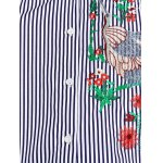 cheap Flower Embroidered Striped Shirt