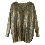 cheap V Neck Side Slit Gilding Sweater