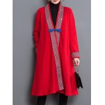 cheap Loose Tribal Embroidery Trim Frog Button Coat