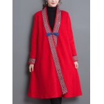 Loose Tribal Embroidery Trim Frog Button Coat deal