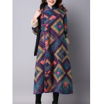 cheap Frog Buttons Printed Long Maxi Coat