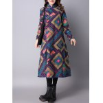 Frog Buttons Printed Long Maxi Coat deal