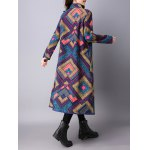 best Frog Buttons Printed Long Maxi Coat