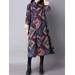 Frog Buttons Printed Long Maxi Coat for sale