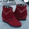 best Hidden Wedge Fringe Rhinestones Ankle Boots