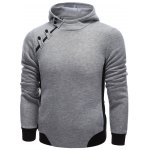 cheap Hooded Oblique Zipper Design Buttons Embellished Hoodie
