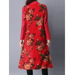 Printed Frog Button Long Coat deal