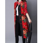 cheap Printed Frog Button Long Coat