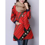 cheap Button Up Printed Quilted Coat