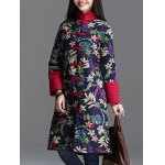 cheap Floral Padded Longline Coat