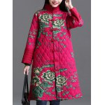cheap Stand Collar Printed Quilted Coat