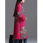 Stand Collar Printed Quilted Coat deal