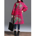 Stand Collar Printed Quilted Coat for sale
