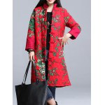 cheap Stand Collar Printed Padded Coat