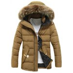 Button Pocket Zip Up Faux Fur Hooded Quilted Coat