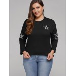 cheap Plus Size Star Embroidered Short Sleeve Sweatshirt