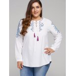 cheap Plus Size Embroidered Lace-Up Tassel Linen Top