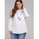 Plus Size Embroidered Lace-Up Tassel Linen Top deal