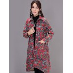 Asymmetrical Printed Long Coat with Pocket deal