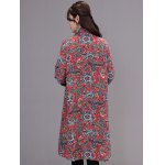 Asymmetrical Printed Long Coat with Pocket for sale