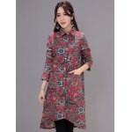 Asymmetrical Printed Long Coat with Pocket