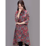 cheap Asymmetrical Printed Long Coat with Pocket