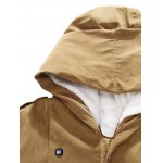 cheap Plush Inside Snap Button Zip Up Hooded Coat For Men