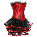 cheap Strapless Layered Lace Spliced Corset