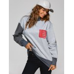 High Neck Graphic Patch Sweatshirt for sale