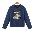 cheap Why Graphic Pompon Embellished Sweatshirt