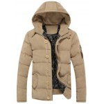 Button Embellished Hooded Suede Padded Coat
