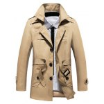 cheap Buttoned Detachable Hooded Belted Coat