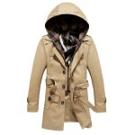 Buttoned Detachable Hooded Belted Coat