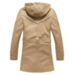 Buttoned Detachable Hooded Belted Coat deal
