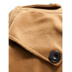 Fleece Plush Lined Single Breasted Stand Collar Woolen Coat deal