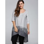 cheap Plus Size 3/4 Sleeve Printed High Low T-Shirt