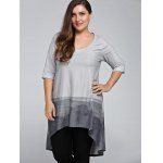 Plus Size 3/4 Sleeve Printed High Low T-Shirt deal