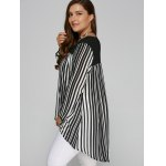 Plus Size High Low Hem Striped Blouse for sale
