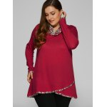 cheap Plus Size Cowl Neck Overlay Blouse