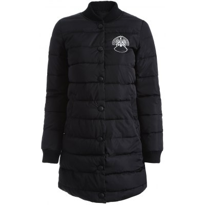 Applique Button Up Quilted Coat