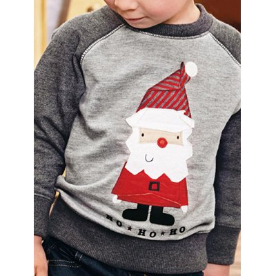 Santa Clause Applique Embroidered Pullover Sweatshirt