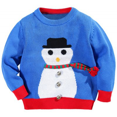 Snowman Color Block Metallic Pullover Sweater