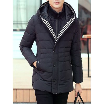 Snap Button Pocket Zip Up Hooded Quilted Coat