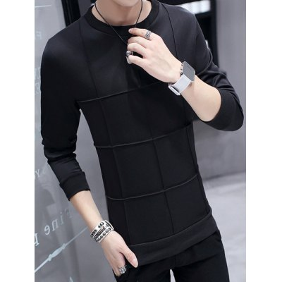 Crew Neck Textured Grid SweatshirtMens Hoodies &amp; Sweatshirts<br>Crew Neck Textured Grid Sweatshirt<br><br>Material: Cotton Blends<br>Clothing Length: Regular<br>Sleeve Length: Full<br>Style: Casual<br>Weight: 0.500kg<br>Package Contents: 1 x Sweatshirt