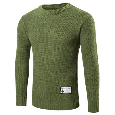 Ribbed Trim Patched Crew Neck Knit Sweater