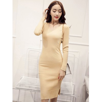 Knitted Furcal Bodycon Dress