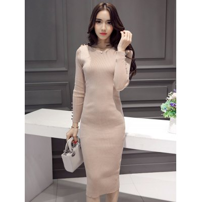 Beaded Design Knitted Bodycon Dress