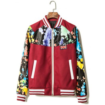 Printed PU Leather Insert Zip Up Jacket